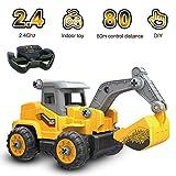 Fesjoy RC Bagger LKW Bausteine 2,4 GHz RC Auto BAU Traktor Spielzeug 32PCS DIY Montage RC Auto...