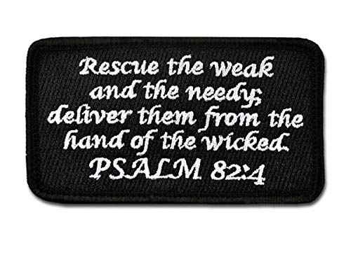 BASTION Morale Patches (Psalm 82:4, Black) | 3D Embroidered Patches with Hook & Loop Fastener Backing | Well-Made Clean Stitching | Christian Patches Ideal for Tactical Bag, Hats & Vest