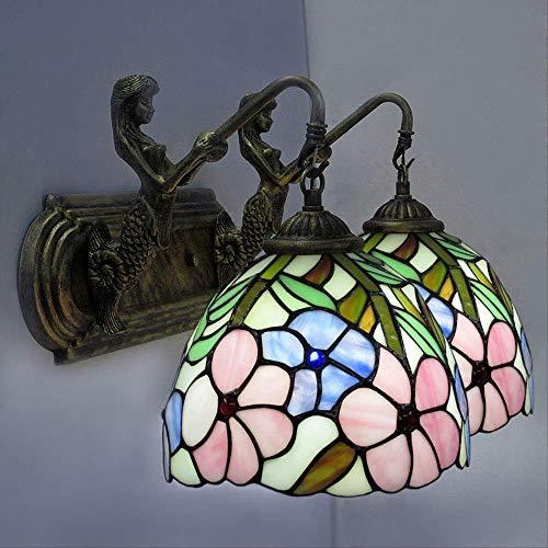 Wandlampe Retro GlasWandleuchten Spiegel Scheinwerfer Feldrose Doppelkopf Wandleuchte Schlafzimmer Wandleuchte Bett Kopf Wandleuchte Abschnitt A