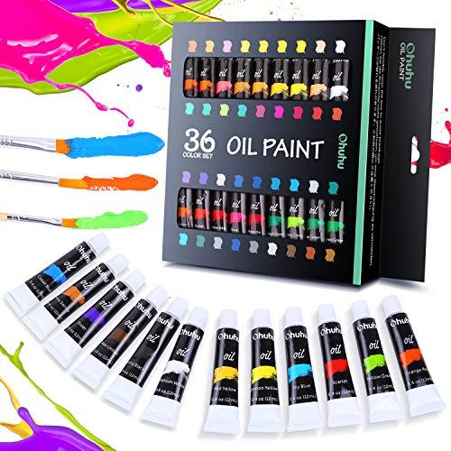 Conjunto de 36 colores de pinturas al óleo Ohuhu. Tintas a base de aceite, para técnica de pintura al óleo. 24 tubos x 12 ml. Gran regalo para el día de la madre o para uso escolar