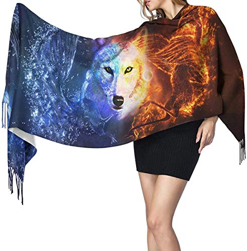 Quecci Bufanda de mantón,Water And Fire Wolf Cool Space Print Pashmina Shawls...