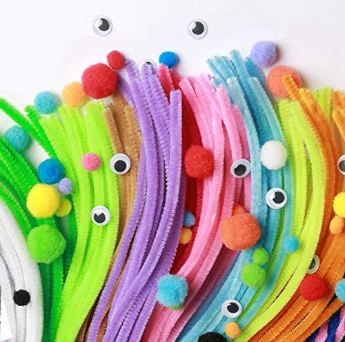 YoYo Fils Chenille Pompons 450 Pièces,Chenilles Loisirs Creatifs, Pipe Cleaners Crafts Set,Activites Manuelles pour Enfants;Bricolage Noël(100Cure Pipes,100Pompons,100Yeux Mobiles150Autocollants)