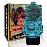 KangYD Novedad Drum Set 3D Luz nocturna, LED Lámpara de ilusión óptica, C- Touch Crack Blanco (7 colores), Regalo de cumpleaños, Regalo de Halloween