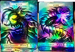 2x Artifact Wurms #1 FOIL LAMINATED Custom Altered Tokens MTG (For Wurmcoil Engine)
