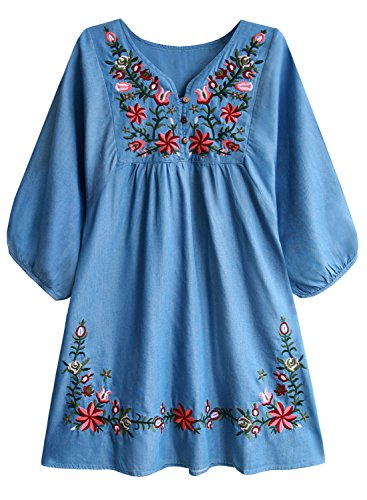 FUTURINO Damen Sommerkleid Bohemian Stickerei Floral Tunika Shift Bluse Flowy Minikleid,02 Denim,S