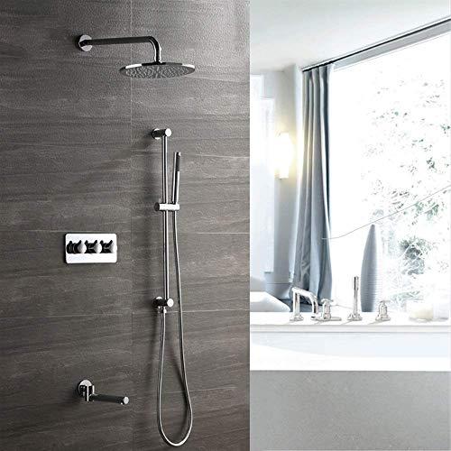 CLJ-LJ Ducha de cobre de tres funciones de ducha oculta caja preintegrada 250 cúpula spray caliente y fría grifo de la ducha de suministro de agua