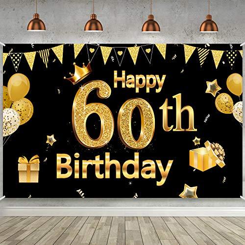 Blulu Decoración de Fiesta de 60 Cumpleaños, Póster de Cartel Dorado Negro Extra Grande Materiales de Fiesta de 60 Cumpleaños, Pancarta de Fondo de 60 Aniversario, 72,8 x 43,3 Pulgadas