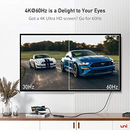 uni USB C auf HDMI Adapter [4K@60Hz], USB Typ C zu HDMI Adapter [Thunderbolt 3 kompatibel] für MacBook Pro 2019/2018/2017, MacBook Air, iPad Pro, Samsung S10, Surface Book 2 usw. Grau