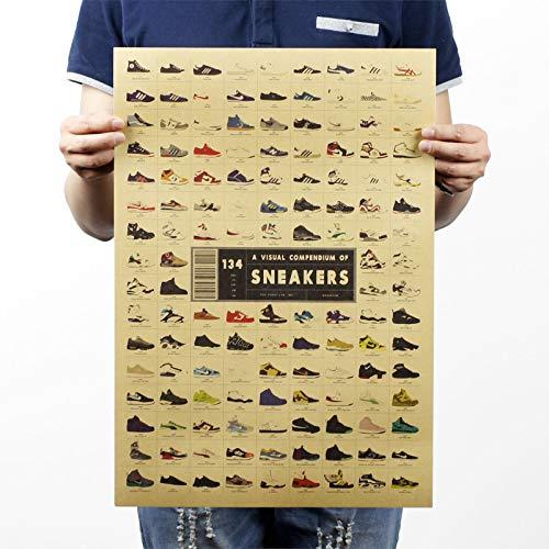 Greneric Basketball-Schuhe Sneakers da komplett Retro d'italic Papier Poster Bar Studenten Wohnheim Kaffeehaus Tapete dekorative Aufkleber 51 * 35.5cm Sneakers sind auf der ganzen Welt