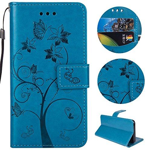 Sycode Sycode Galaxy S8 Plus Hülle,Galaxy S8 Plus Case,Galaxy S8 Plus Schutzhülle,Schmetterling Baum Blume Ameise Muster Lederhülle Hülle für Samsung Galaxy S8 Plus-Blau