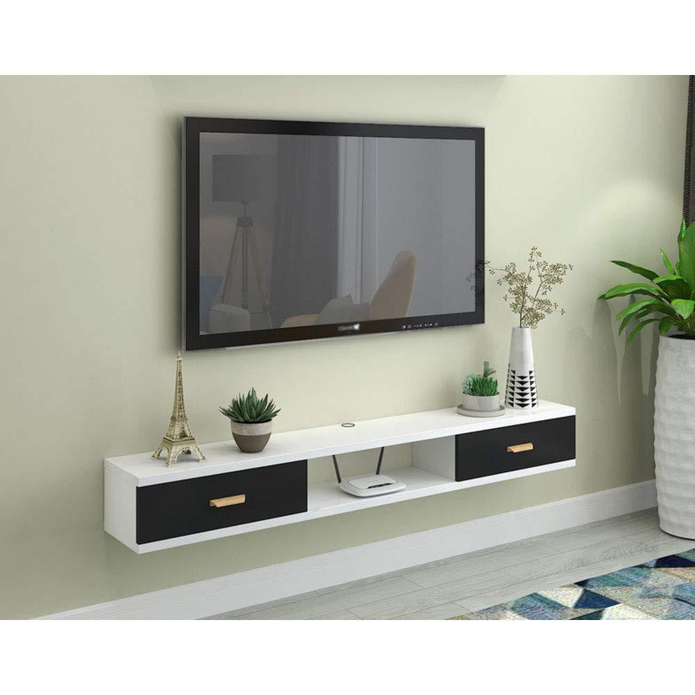 L&T Montado En La Pared TV Baldas Madera, 2 Nivels Medio Consola Flotante Colgar TV Gabinete con Puerta Diseño Bandeja De Almacenamiento para Cajas De Cable Enrutador-d 120cm(47inch): Amazon.es: Hogar