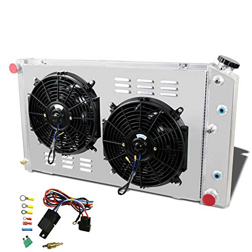 OzCoolingParts 4 Row Core Aluminum Radiator + 2 x 12  Fan w Shroud(Cover) + Thermostat Kit for 1960-1990 61 62 65 66 87 88 89 Chevy Chevelle El Camino Truck Buick Cadillac Oldsmobile Pontiac and More