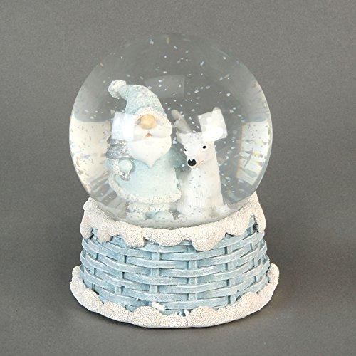 Handbemalte Figur Weihnachtsmann und Rentier Weihnachten Schneekugel Winter Wonderland