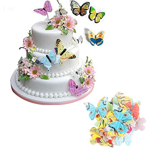 KXCLL 42stks/partij Gemengde Vlinder Eetbare Wafer Rijst Papier Cake Cupcake pers voor Cake Decoratie Verjaardag Bruiloft Cake Gereedschap