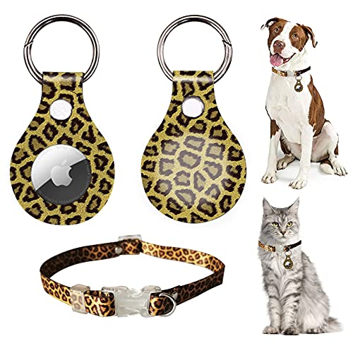 CoKi Cute Anti-Lost Anti-Scratch Protective Case for Apple Airtag 2021, Leopard Print Cheetah GPS Portable Cover with Accessory for Airtags Keychain Tag Loop Holder + Adjustable Dog Cat Pets Collar