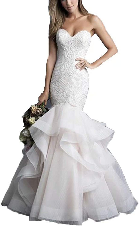 Aishanglina Women Mermaid Sweetheart Wedding Dress Chapel Train Ruffles Bridal Gown Plus Size