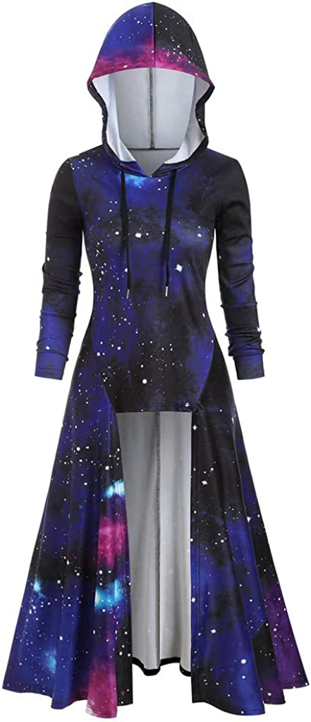 Tomppy Women Hooded Challenge the Cheap mail order sales lowest price of Japan Cloak Tops Long Printed Star Sleeve Galaxy P