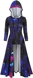 Women`s Blouse Long Sleeve Hooded Starry Galaxy Print High Blouse Top Cloak Hoodies Tunics Tops Slim Outfits Coat
