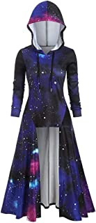 Women's Blouse Long Sleeve Hooded Starry Galaxy Print High Blouse Top Cloak Hoodies Tunics Tops Slim Outfits Coat