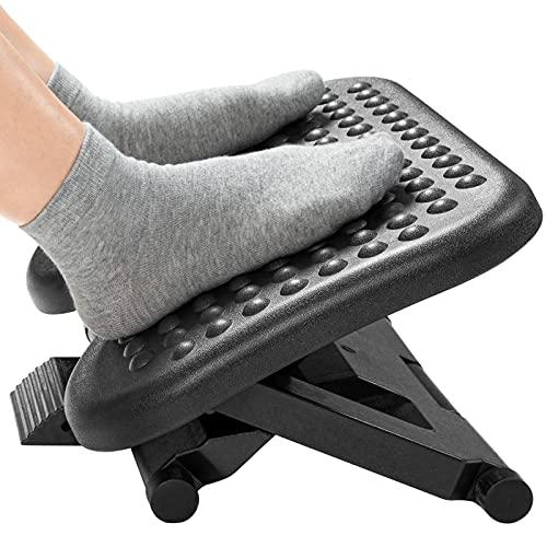HUANUO Fußstütze 3 Höhen Verstellbar & Winkeleinstellbar, rutschfeste Fußablage mit Massage-Funktion für Büro, Zuhause
