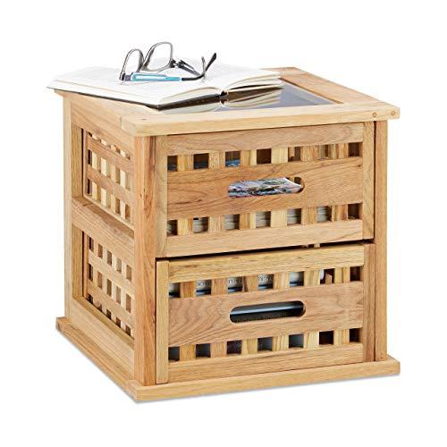 Relaxdays Beistelltisch Walnuss, quadratischer Nachtschrank aus Naturholz mit 2 Schubladen, HBT: 34 x 34 x 34 cm, natur