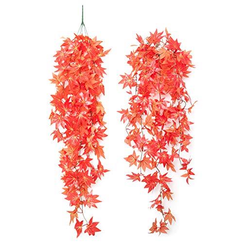Ueohitsct 2 piezas de plantas colgantes artificiales de plantas de plástico para decoración de bodas en casa, oficina y decoración hermosa y real