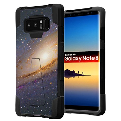 Galaxy Note 8 Case, Capsule-Case Hybrid Fusion Dual Layer Shockproof Combat Kickstand Case (Black) for Samsung Galaxy Note8 SM-N950 - (Space Milkyway)