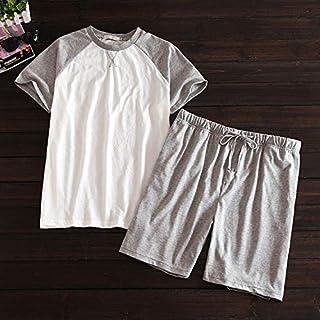 Pajam Plus size 100% cotton short pajamas sets men Summer short sleeve sleepwear for male Korean pijama hombre pyjama homme WZCUICAN (Color : Ivory, Size : M)