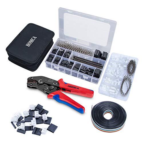 Crimpzange Dupont Stecker Set SN-28B Crimping Tool mit 2030pcs Dupont Steckverbinder und Crimp Pins Stiftleiste, 460 pcs JST-XH Stecker Kit + 5M 10pin Dupont Kabel, Crimpzange für 0,14-1 mm²
