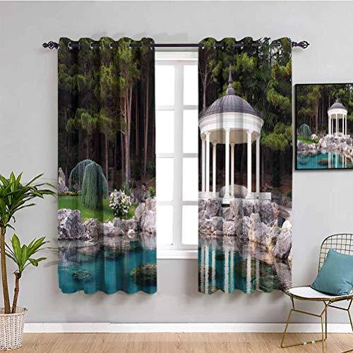 Cortinas opacas de alta calidad con vistas al jardín, tela impermeable, verde, azul y blanco, 108 x 200 cm