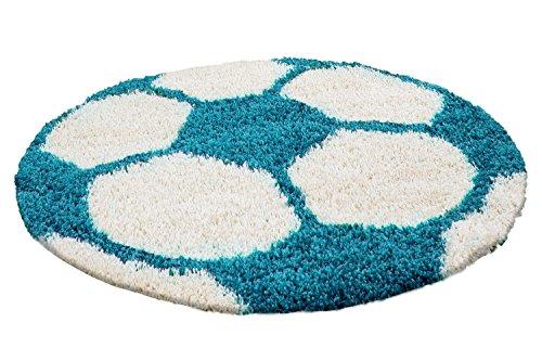 Unbekannt Kinderteppich Hochflor Fussball Basketball Rund Kinderzim. 100 cm und 120 cn Rund, Farbe:Türkis, Größe:100 cm Rund