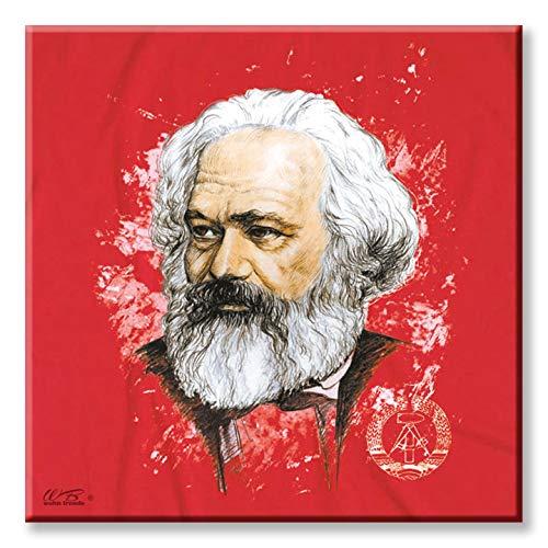 WB wohn trends Deko-Fliese, Karl Marx Zeichnung Kopf Ostalgie DDR, Foto-Fliese Wand-Bild Deko-Schild 15x15cm