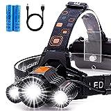Rechargeable Headlamp, LED Head Lamp 6000 High lumens, USB Bright Flashlight Headlight Adjustable...