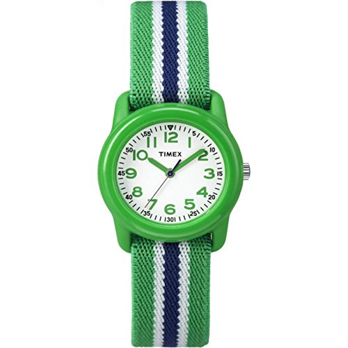 Timex Boys TW7C06000 Time Machines Green/Blue Stripes Elastic Fabric Strap Watch