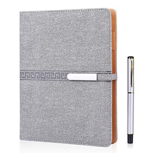 FOBOZONE Cuaderno de piel A5, rellenable, hojas sueltas, 200 páginas gruesas, forro clásico con bolsillo y soporte para bolígrafo, el mejor regalo.