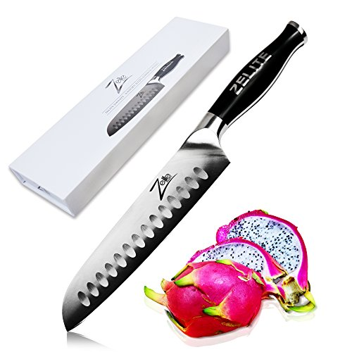 Zelite Infinity Santoku Knife 7 Inch - Comfort-Pro Series - German High Carbon Stainless Steel - Razor Sharp, Super Comfortable