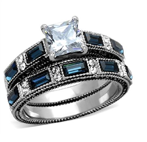 Doublebeez Jewelry Stainless Steel Dark Blue and Clear Cubic Zirconia 2...