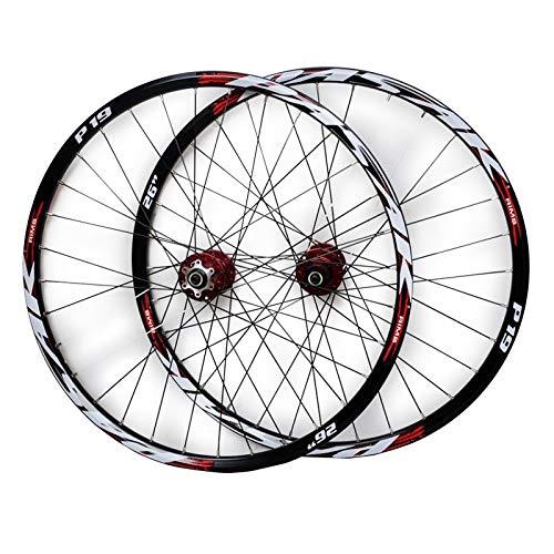 ZFF Bicicleta Montaña Juego De Ruedas 26/27,5/29 Pulgadas Freno Disco Eje Cónico MTB Delantera + Trasero Rueda Liberación Rápida 7/8/9/10/11 Velocidad (Color : Red, Size : 26in)
