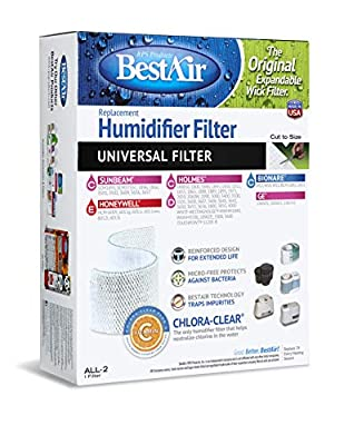 "BestAir ALL-2, Extended Life Humidifier Replacement Paper Wick Filter, For Holmes, Sunbeam, Touch Point, White-Westinghouse, Bionaire, and GE Models, 7.75"" x 10.5"" x 3.1"", Single Pack"