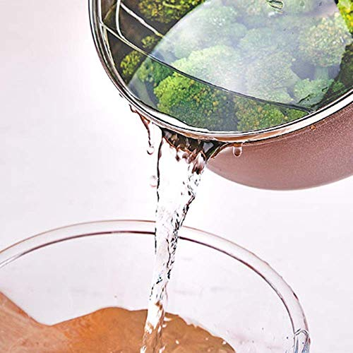 Pkfinrd Sartén antiadherente de 24 cm, para salsa de Wok, fideos, olla de leche caliente, cubierta universal multifunción (color: marrón, tamaño: 24 x 8 cm)