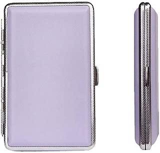 YZT Cigarette Case, Metal Cigarette Case, PVC Ultra-Thin Portable Cigarette Case, 14 Pieces, Red, Pink, Purple. (Color : Purple)