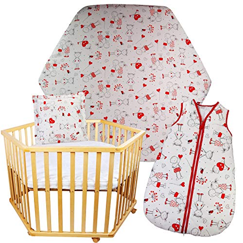 3 tlg. Baby Schlaf Set - Schlafsack + Kissen + Spannbettlaken für 6-eckiges Laufgitter ca. 105x120 cm (Ohne Matratze) (Weiß-Rot)