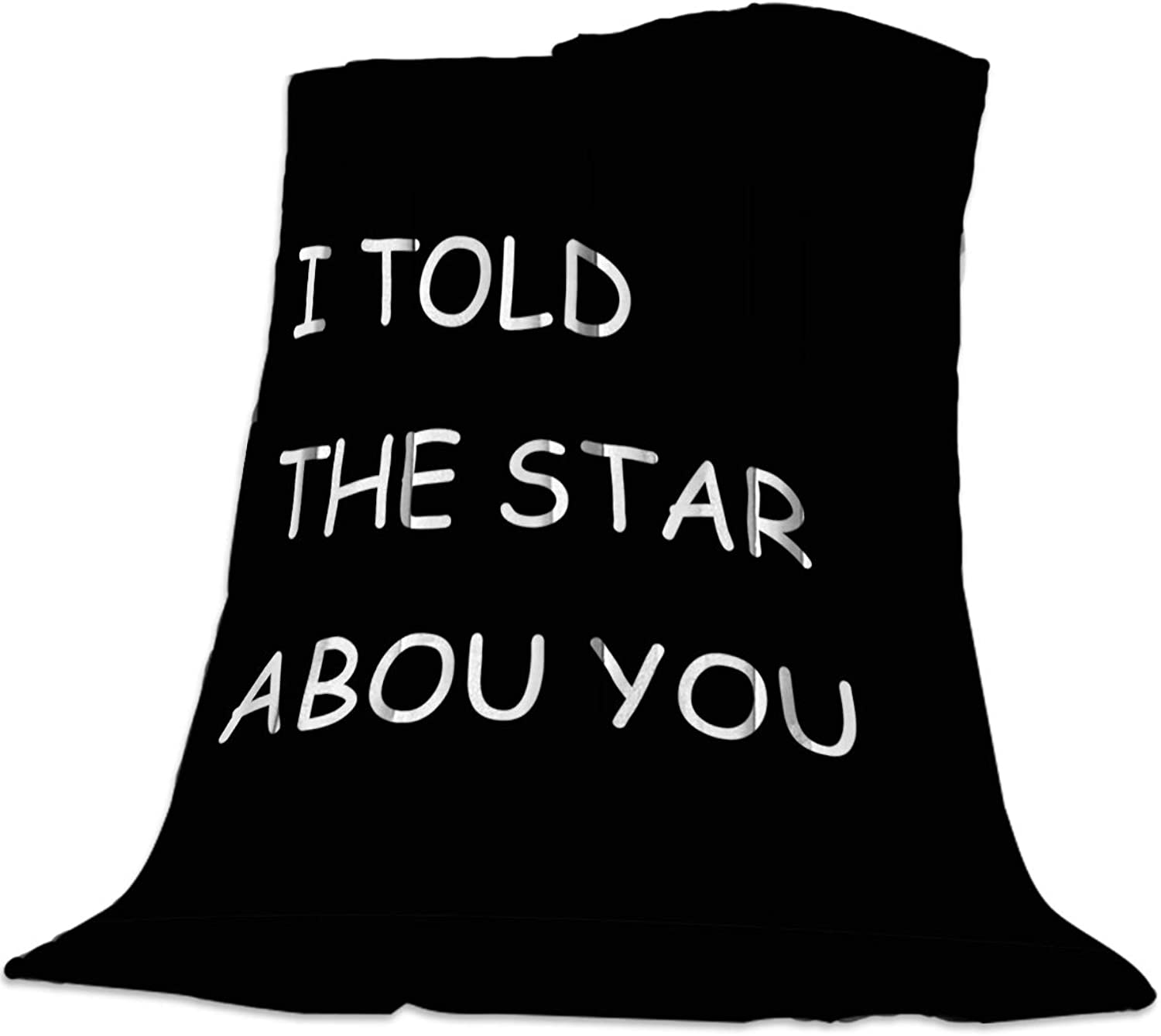 YEHO Art Gallery 39x49 Inch Flannel Fleece Bed Blanket Soft Throw-Blankets for Girls Boys,I Told The Star About You Black Pattern,Cozy Lightweight Blankets for Bedroom Living Room Sofa Couch