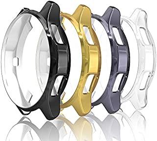 Simpeak [4 Pack] Case Cover Compatible with Galaxy Watch 46mm / Gear S3, Soft Back Protective Bumper Shell Replacement for Gear S3 Frontier Smartwatch, Black/Space Grey/Gold/Clear