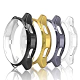 Simpeak 4-Packs Funda Compatible con Samsung Gear S3 / Galaxy Watch 46mm, Funda Compatible con Samsung Gear S3 Slim Suave TPU Reemplazo Protector Caso Marco - Negro/Gris/Oro/Transparente
