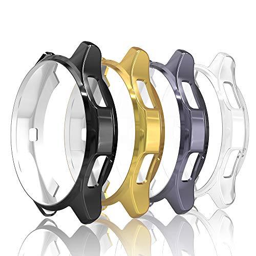 Simpeak 4-Packs Funda Compatible con Samsung Gear S3 / Galaxy Watch 46mm, Funda Compatible con Samsung Gear S3 Slim Suave TPU Reemplazo Protector Caso Marco - Negro/Gris/Oro/Transparente