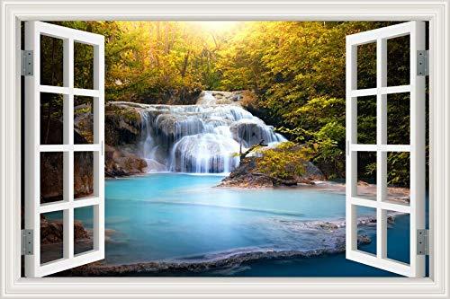 3D-Fenster Wasserfall Fluss Laker Wald natürliche Landschaft Wandaufkleber Hauptdekoration Wohnzimmer Schlafzimmer Landschaft Foto Kunst Aufkleber Tapete Wandplakat