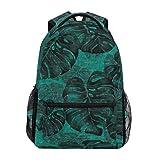 Zaini per la scuola tropicali con foglie nere esotiche monstera camouflage zaino grande per ragazze bambini elementari scuola borsa a tracolla