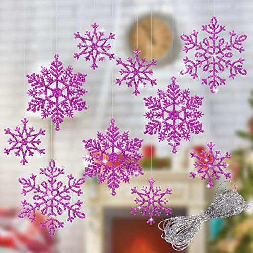 Whaline 40Pcs Purple Glitter Snowflake Winter Snowflake Ornaments Christmas Hanging Decorations with 197 Inches Silver Rope for Wedding Birthday Home Xmas Tree Window Door Accessories