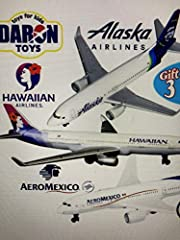 Matty's Toy Stop's Exclusive Gift Set Bundle Includes Daron Hawaiian Airlines, Alaska Airlines & AeroMexico Die-cast Planes! Planes are officially licensed by the airlines! Models are 5 1/2 inches long with 5 inch wingspan. These awesome toys can be ...